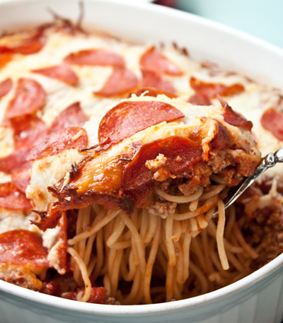 Pepperoni Pizza Spaghetti Casserole - Boys Ahoy