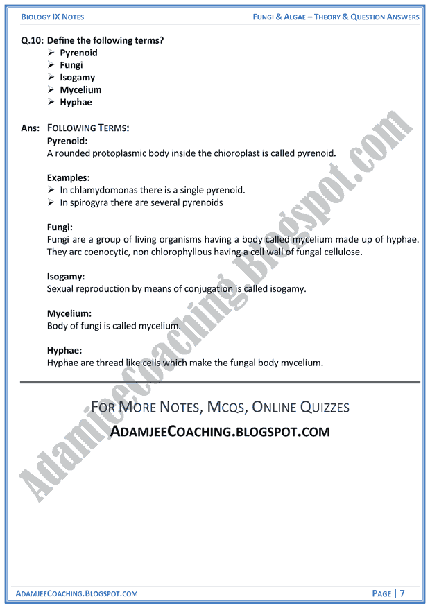 Adamjee Coaching: Fungi and Algae - Theory and Question Answers - Biology Notes for Class 9th