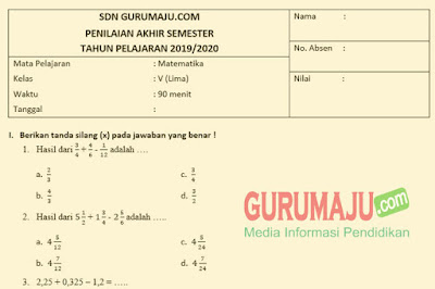 Soal UAS / PAS Matematika Kelas 5 Semester 1 K13 Revisi