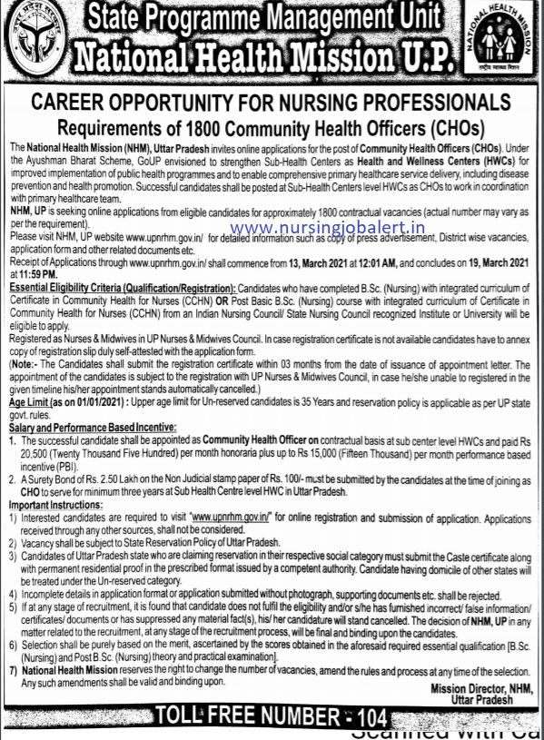 UP CHO 2021 Community Health Officer Vacancy , Total 1800 Posts