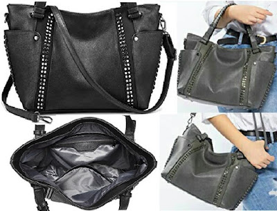 Realer Handbag: Ladies Trendy Tote Shoulder Bag with detachable strap and adjustable dual handle