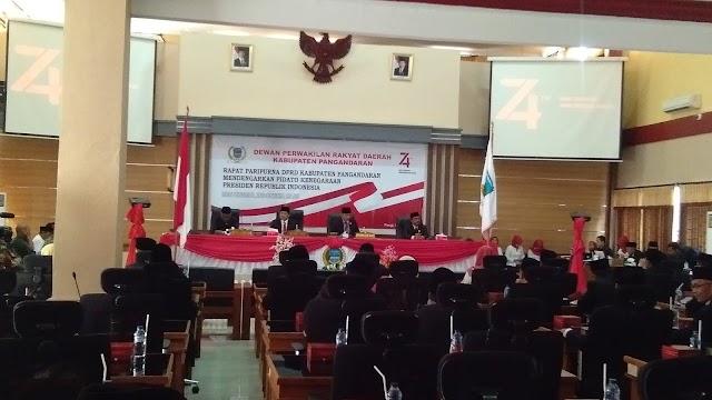 DPRD Kabupaten Pangandaran Menggelar Rapat Paripurna Istimewa Mendengarkan pidato Kenegaraan Presiden RI