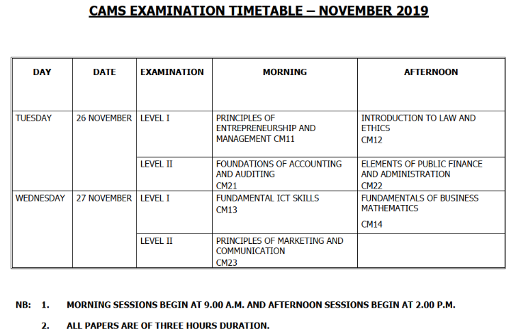 CAMS Examination Timetable – November 2019