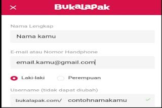Formulir pendaftaran Bukalapak via web