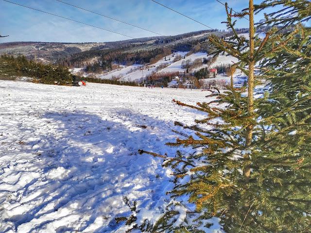 Rzeczka, okolice Wałbrzycha, narty, sanki, zima, śnieg