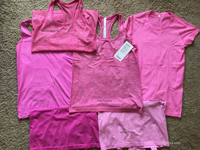 lululemon color-comparison pink paradise-pow-vintage-rasperry-glo-paris-jeweled-magenta