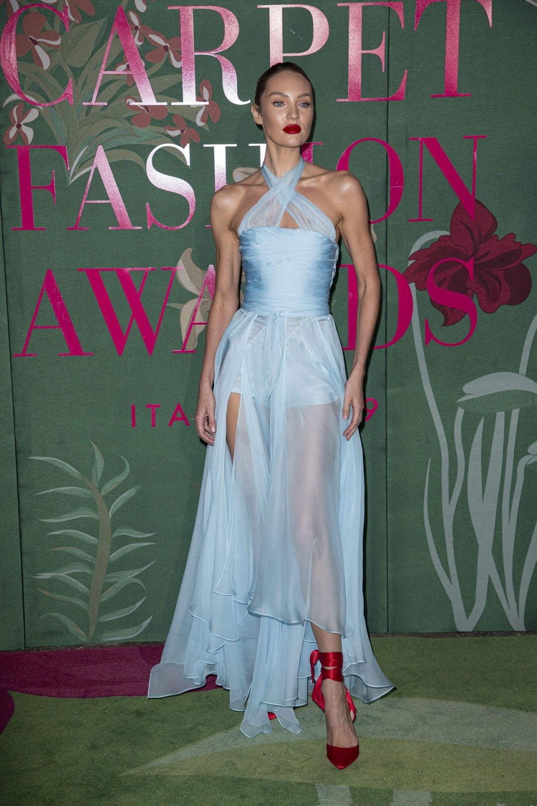 Candice Swanepoel dazzles at the 2019 Green Carpet Fashion Awards in Milan