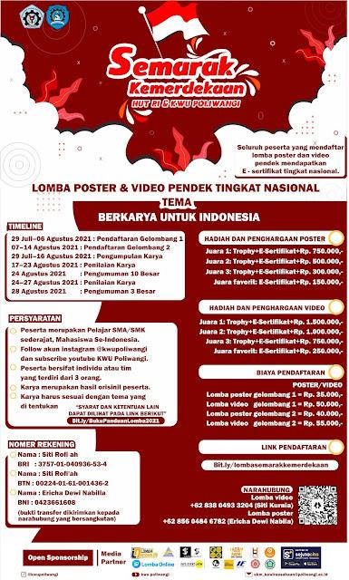 Lomba Poster dan Video Pendek Tingkat Nasional oleh KWU Poliwangi