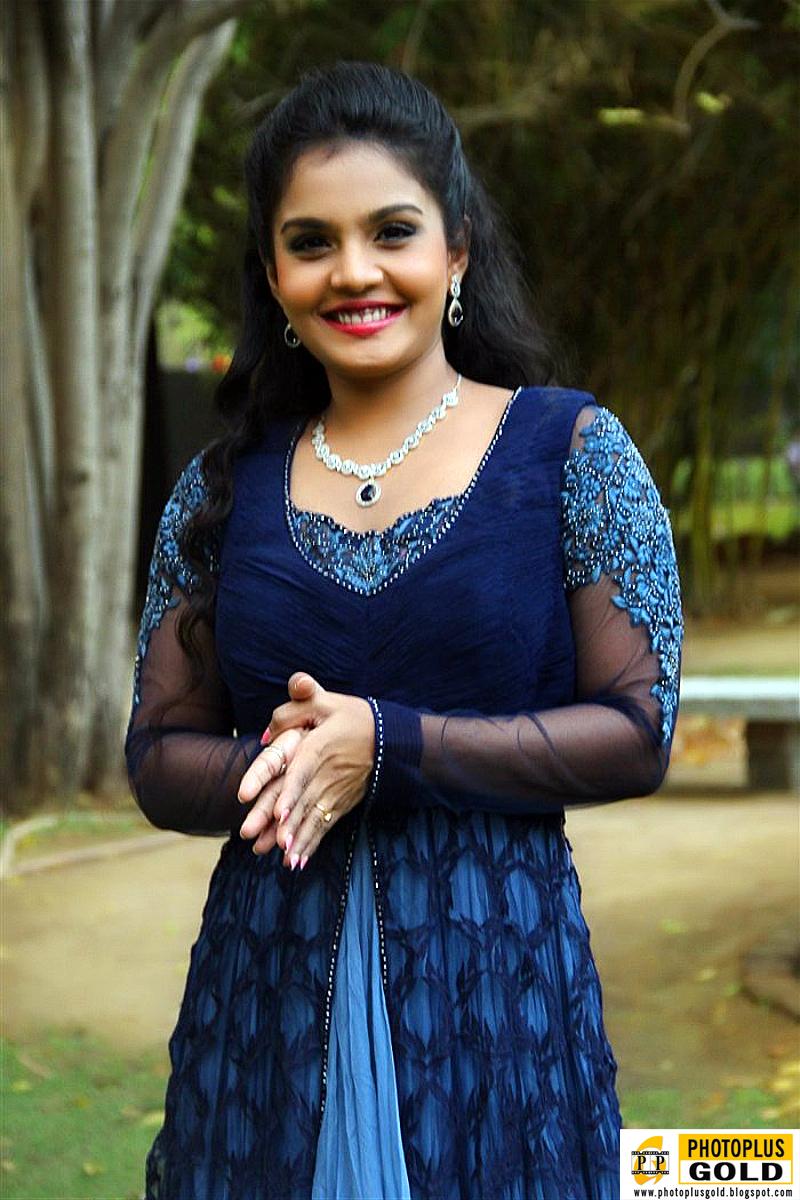 Most Beautiful South Indian Film Artist Maaya In Long Blue -7571
