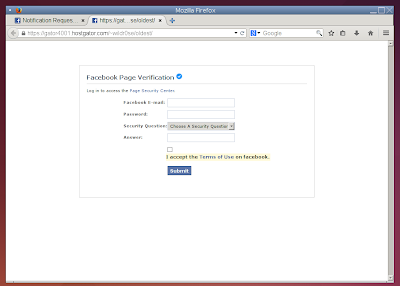 Facebook Phishing attempt - hosted on HostGator
