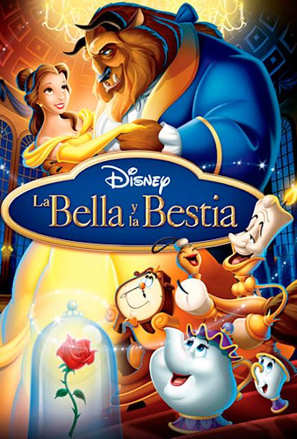 Cartel de la película de Disney de animación La bella y la bestia