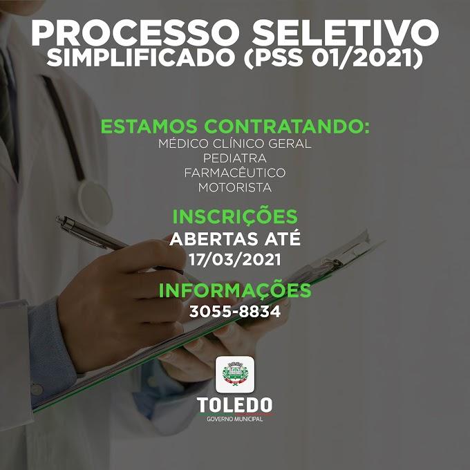 A Secretaria da Saúde de Toledo está contratando por tempo determinado