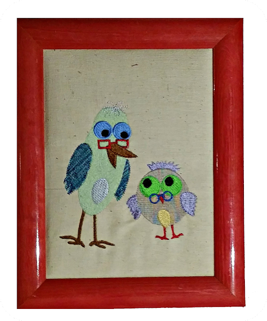 oiseau, bird, frame, cadre,broderie, embroidery, machine embroidery, broderie machine, cadeau d'anniversaire, birthday present