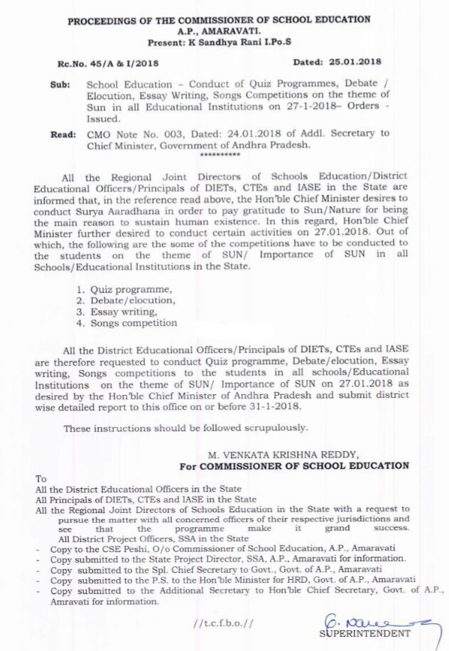 conduct of surya aaradhana school activities instructions from  all the district educational officers principals of diets ctes and iase are therefore requested to conduct quiz programme debate elocution essay writing
