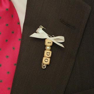 Scrabble boutonniere idea-boutonniere alternatives-wedding ideas-wedding theme-Weddings by K'Mich