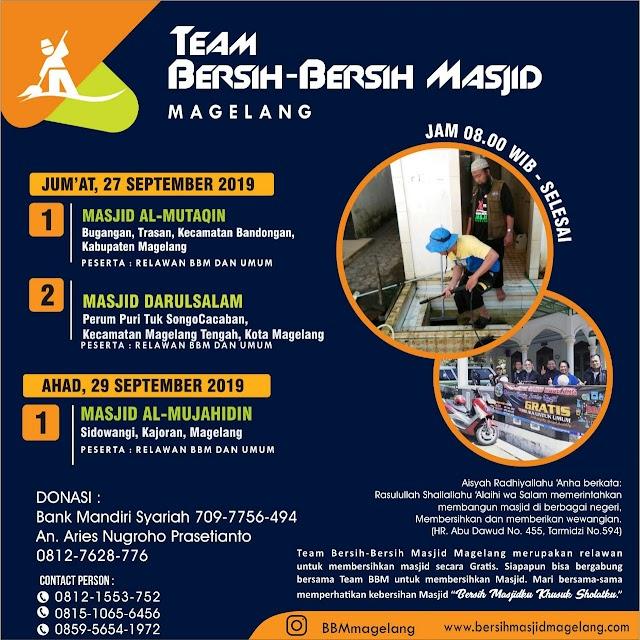 Bergabunglah dalam Kegiatan Bersih-Bersih Masjid Al Mujahidin Sidowangi, Kajoran, Kabupaten Magelang