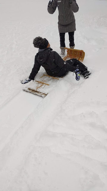 sledding for winter vacation