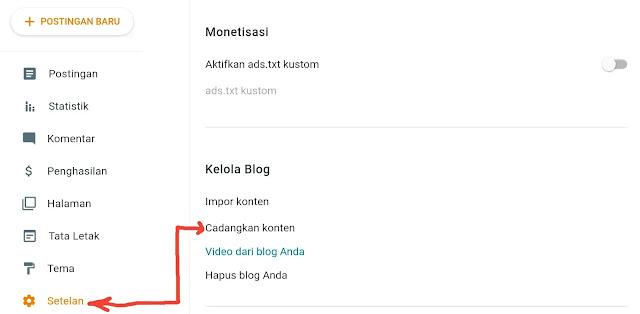 cara mencadangkan atau backup konten blogspot