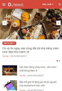 Giao diện blog tin tức mobile