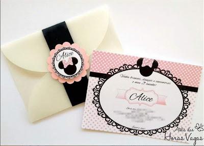 convite artesanal personalizado infantil aniversário minnie mouse poá rosa branco delicado 1 aninho menina disney