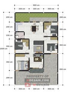denah rumah 7x10 4 kamar tidur
