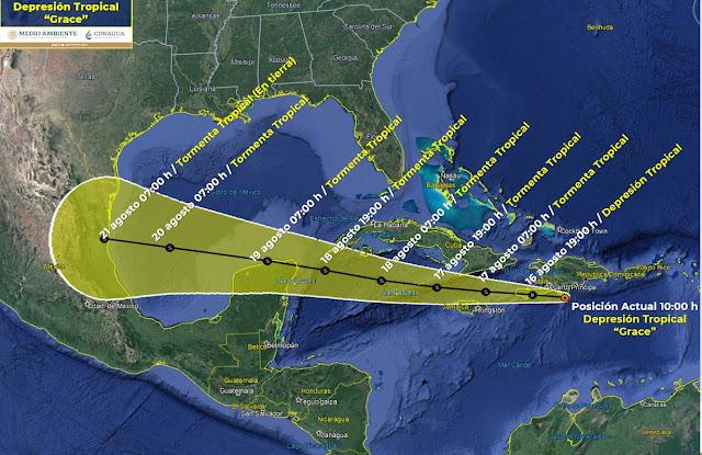 El centro de Grace, que avanza hacia la Península de Yucatán a 24 km/h con vientos máximos sostenidos de 55 km/h y rachas de 75 km/h