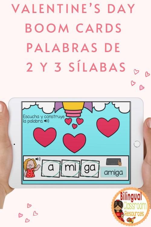 Valentine's Day BOOM Cards  Palabras de 2 y 3 sílabas