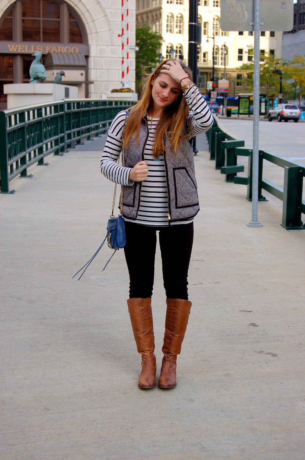herringbone vest and a striped top