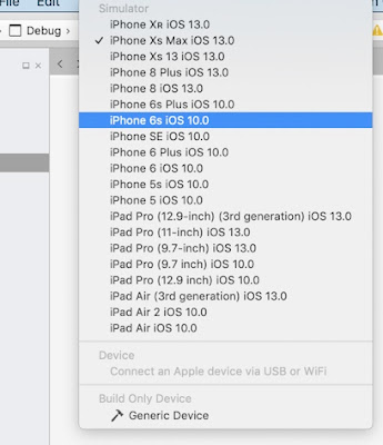 iOS 13 simulators list