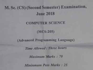 Advanced programming Language  question paper M.Sc CS APUS  ,visual basic asp MCQ PAPER paper