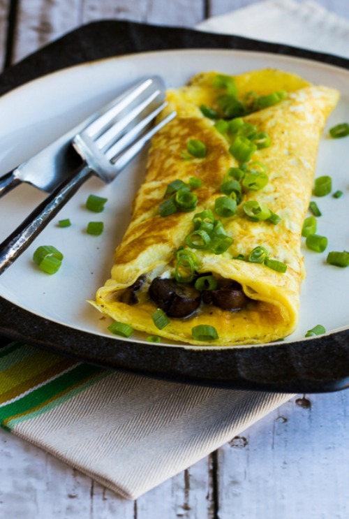 Sunday-Morning Omelet with Mushrooms and Goat Cheese  found on KalynsKitchen.com