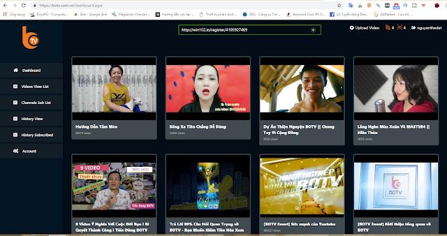 Xem video kiếm tiền từ BOTV