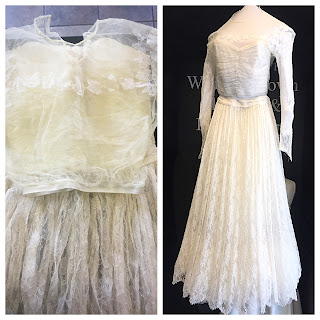 Mrs. Rehder's mother's dress before and after cleaning and preservation