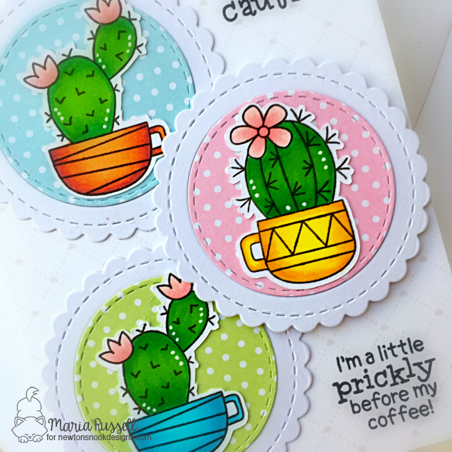 A Prickly Duo of Cards by Maria Russell | Cuppa Cactus Stamp Set and Circle Frames Die Set by Newton's Nook Designs #newtonsnook #handmade