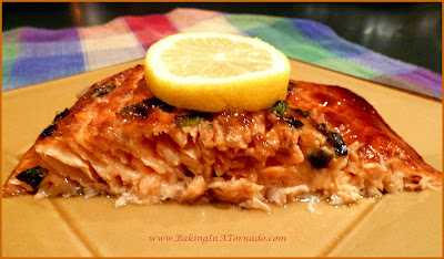 Glazed Salmon, a quick and easy flavorful dinner. Can be made in the broiler or on the grill. | www.BakingInATornado.com | #dinner #fish