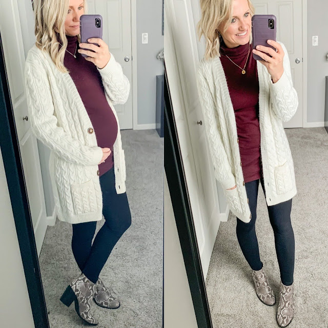 Turtleneck with leggings maternity outfit