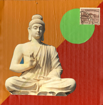 Buddha statue lotus position Pakistan postage stamp teal circle flag maroon and gold