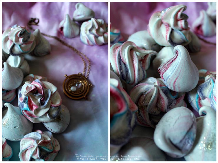 Galaxy Meringue Kisses mit essbarem Glitzer