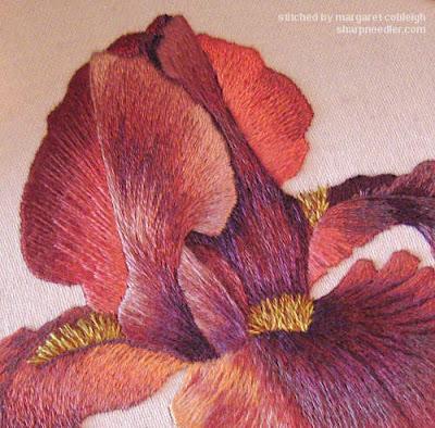 Embroidered iris detail (design by  Trish Burr)