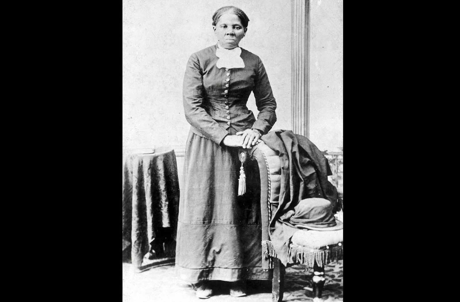 Harriet Tubman, in a photograph dating from 1860-75. Tubman was born into slavery, but escaped to Philadelphia in 1849, and provided valuable intelligence to Union forces during the Civil War.