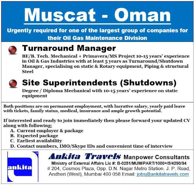 Oman Jobs, Muscat Jobs, Turnaround Manager, Site Superintendant,Oil & Gas Jobs,Shutdown Jobs,Skype Interview,