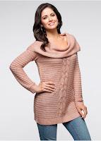 Pulover lung cu model tricotat (bonprix)