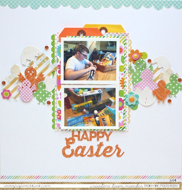 Happy Easter Scrapbook page featuring Easter Chicks Free Digital Cut File by Juliana Michaels 17turtles.com