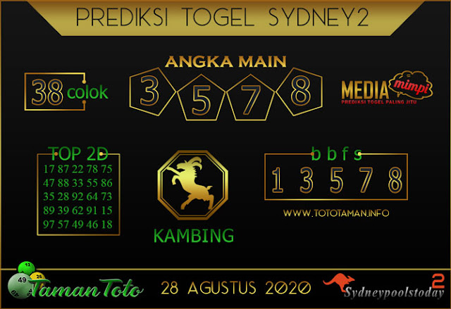 Prediksi Togel SYDNEY 2 TAMAN TOTO 28 AGUSTUS 2020