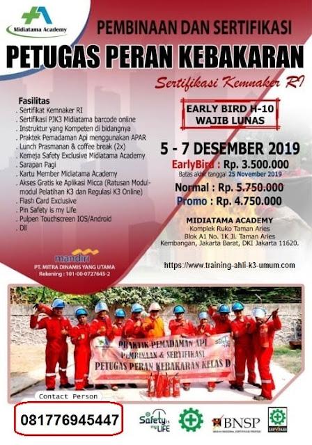 Damkar Klas D kemnaker tgl. 5-7 Desember 2019 di Jakarta