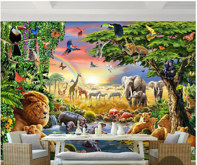 Wall Murals for Kids Rooms Wallpaper Djungel Animals
