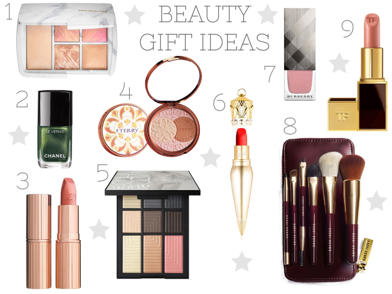 Beauty gifts, hourglass, chanel, bobbi brown, christian louboutin, burberry make up