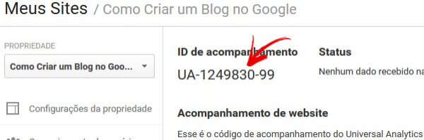 Obter ID de Acompanhamento do Google Analytics