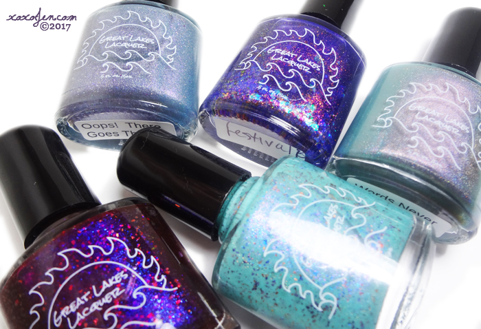 xoxoJen's swatch of Great Lakes Lacquer Small Batch polishes and Gift With Purchase
