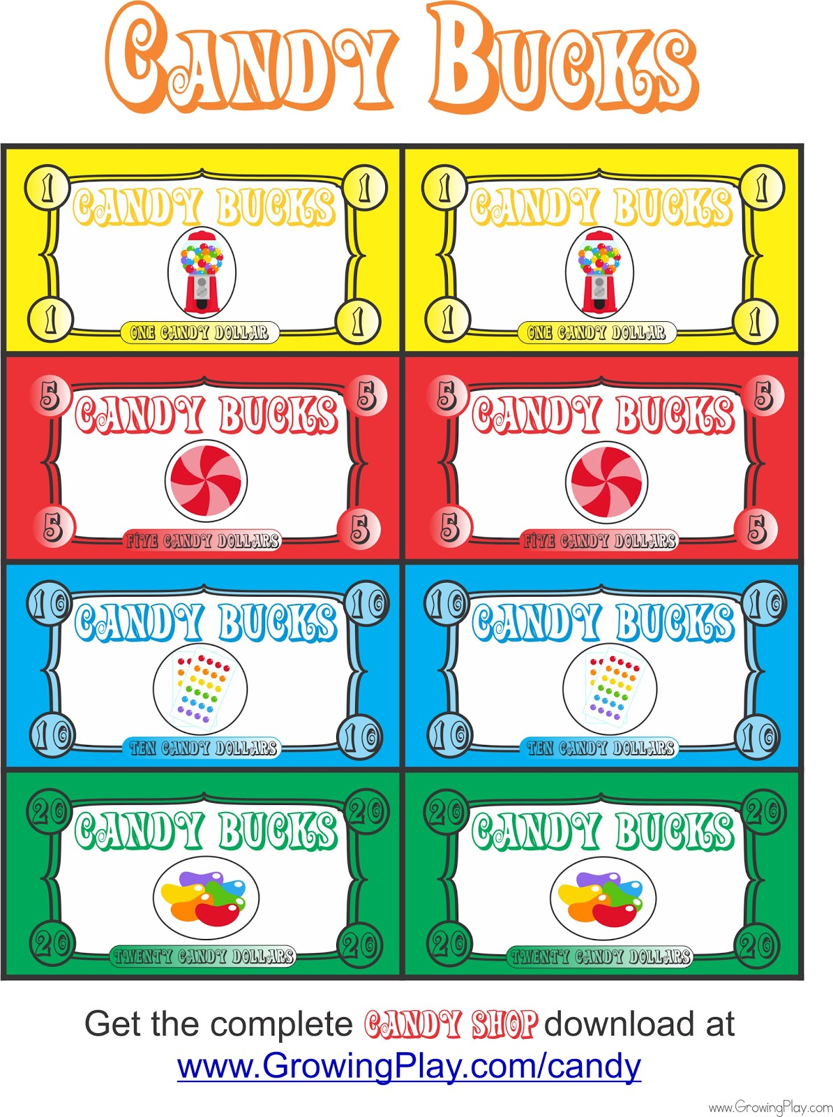 Free Candy Cane Template Printables Clip Art Decorations: Growing Play: Free Candy Shop Bucks To Play Pretend